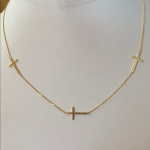 "Jewelry - 3 Cross Gold Plated Necklace 18"" inches"